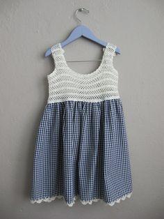 Niñas vestido de guinga Vintage / azul y blanco de ganchillo