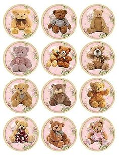 Details about Vintage inspired round teddy bear stickers flowers bottlecap assorted sizes- CATHERINE DM Etiquette Vintage, Bottle Cap Crafts, Bottle Caps, Free To Use Images, Paper Crafts, Diy Crafts, Bottle Cap Images, Vintage Labels, Digital Collage