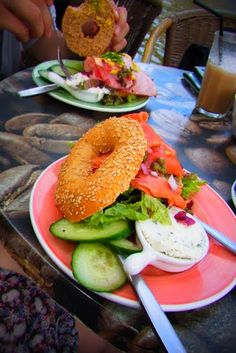 Bagles with smoked salmon and cream cheese