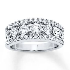 Diamond Anniversary Band 2 Carats tw Round-cut 14K White Gold