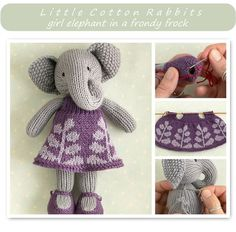 Little Cotton Rabbits girl elephant + dress pattern Knitting For Kids, Knitting Projects, Baby Knitting, Crochet Projects, Scrap Fabric Projects, Fabric Scraps, Knitting Patterns, Crochet Patterns, Little Cotton Rabbits