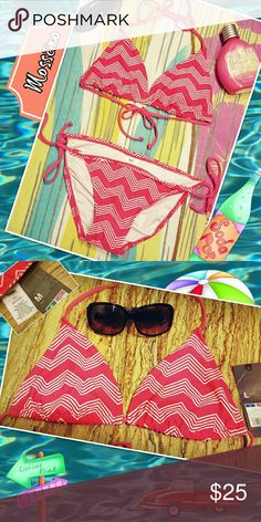 NWT  Bikini Set Super cute chevron bikini by Mossimo Supply Co. Never worn w/ tags still on both pieces. The top is a large and the bottom is a medium. Mossimo Supply Co. Swim Bikinis