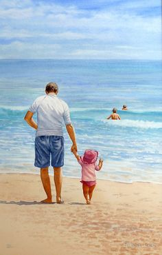 Hangin' With Dad by Fiona Lee Easy Paintings, Beautiful Paintings, Watercolor Illustration, Watercolor Paintings, Father Daughter Photos, Fathers Day Art, Cartoon House, Couple Painting, Daddys Little Girls