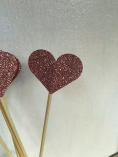 Large glitter Heart Cake Toppers  Cake Pokes  Set Of by TypeWright