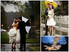 Cute Rainy day wedding photo ops