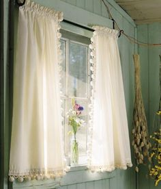 Add a charming cottage look to the window with our Classic Ball Fringe Perma-Press Cafe Curtains French Country Living Room, Curtain Styles, Bathroom Window Curtains, Curtain Decor, Curtains, Curtain Designs, Purple Curtains, Country Curtains, Rustic Curtains