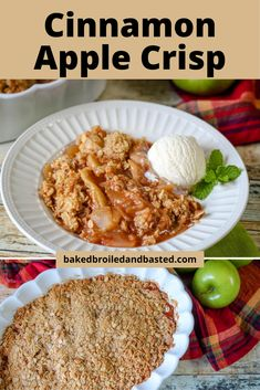 This cinnamon apple crisp is full of warm juicy apples and topped with a buttery oat crunch. This is the perfect dessert for any time of year for those apple lovers . Fruit Recipes, Apple Recipes, Brunch Recipes, Meat Recipes, Fall Recipes, Dessert Recipes, Holiday Recipes, Fun Desserts, Delicious Desserts