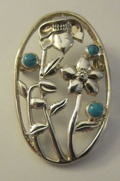 Art Nouveau Style Sterling Silver & Turquoise Oval by Jenaby, Brooches, Art Nouveau, Turquoise, Jewellery, Sterling Silver, Unique Jewelry, Handmade Gifts, Etsy, Vintage