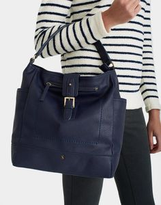 Joules Belsize Bright Navy Leather Tote Bag