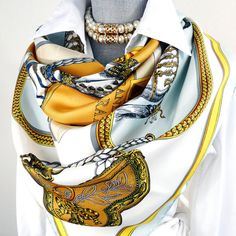 Authentic Vintage Hermes Silk Scarf Grand Apparat Light Early Issue Blue and White