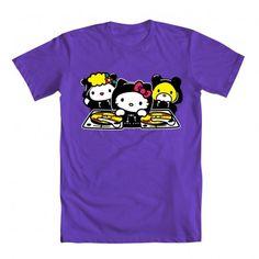 OONTZ OONTZ, Kitty-Chan's droppin' the beatz!      basic men's crew tee  100% cotton