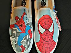 Handpainted Spiderman on Vans shoes by ThePaintedChild on Etsy, $75.00
