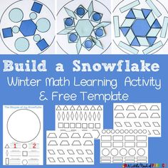 Build a Snowflake: Winter Shape Math Activity and Free Template - Mathe Ideen 2020 Free Activities For Kids, Fun Winter Activities, Winter Crafts For Kids, Kindergarten Activities, Classroom Activities, Learning Activities, Preschool Activities, Preschool Winter, Winter Ideas