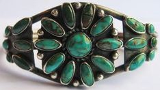 BEAUTIFUL VINTAGE NAVAJO INDIAN STERLING SILVER TURQUOISE FLOWER CUFF BRACELET by proteamundi