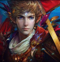 blond warrior long hair male blue eyes fantasy beautiful