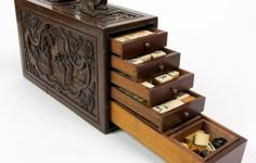 Mahjong Chinese Game Set w/Carved Box – ID# 932 - $700.00 #antiques #Mahjong Chinese Game Set w/Carved Box