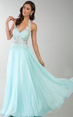 Elegant Sleeveless Halter Chiffon A-Line Prom Dress  prom dresses  In Stock irene34728