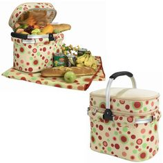 The Picnic Parlor - Red and Green Polka Dot Cooler Basket with Blanket, $79.99 (http://picnicparlor.com/red-and-green-cooler-basket-with-blanket/)