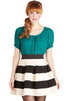 Stripe It Lucky Skirt - Multi, Stripes, Pleats, Work, Short, Exposed zipper, Party, Vintage Inspired, Ballerina / Tutu, Good, Best Seller, M...