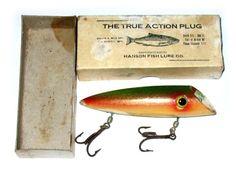 Hanson True Action Salmon Plug Source: Old Salmon Plugs Gone Fishing, Fishing Tackle, Fishing Photos, Lure Making, Vintage Fishing Lures, Catfish, Vintage Wood, Plugs, Salmon