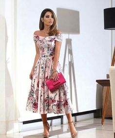 Charming Dinner Outfits Ideas For Mode Outfits, Chic Outfits, Dress Outfits, Modest Fashion, Fashion Dresses, Floral Fashion, Woman Dresses, Style Fashion, Cocktail Dresses