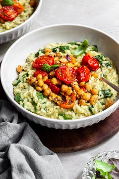 Pesto Risotto, Roasted Tomatoes & Chickpeas - Vegan & Gluten-Free - Crumbs & Caramel Potato Recipes, Pasta Recipes, Soup Recipes, Vegetarian Recipes, Healthy Recipes, Carrot Recipes, Cauliflower Recipes, Chicken Recipes, Ham Recipes