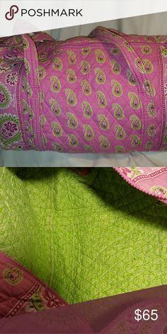 Large Pink and Green Vera Bradley travel bag Large Pink and Green Vera Bradley duffle bag. Two straps and top zipper closure. Vera Bradley Bags Travel Bags