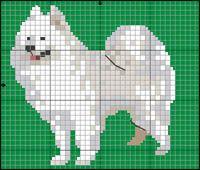 Samojed Hama Beads Patterns, Craft Patterns, Beading Patterns, Knitting Charts, Knitting Patterns, Cross Stitch Charts, Cross Stitch Patterns, Samoyed Dogs, Needlepoint Stitches