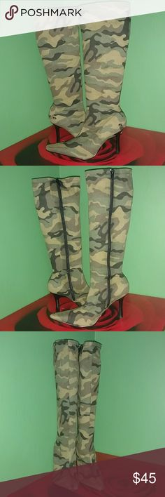 Somethin' Else Boots by Skechers Gently used, still in Great Condition - Chic n Stylish Army print knee high boots - inside zip closure for access - boot is made of stretchable fabric - looks really cute with cuff jeans or leggings! Skechers Shoes Heeled Boots