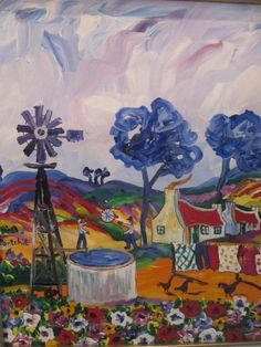 Playing by the Windmill by Portchie | via Marzé Botha Art Gallery