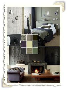 Interieur idee met de kleuren grijs en oud groen. | algemeen | Pinterest