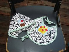 Baby Girl Hat and Quilted Bib Set