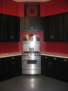 1000 images about kitchen accessories on pinterest red for Dark red kitchen cabinets