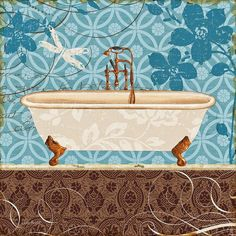 """Trademark Art """"Eco Motif Bath II"""" by Lisa Audit Painting Print on Wrapped Canvas Size: Painting Prints, Wall Art Prints, Canvas Prints, Fun Prints, Abstract Canvas, Canvas Artwork, Ideas Baños, Ideas Para, Shabby Chic"""