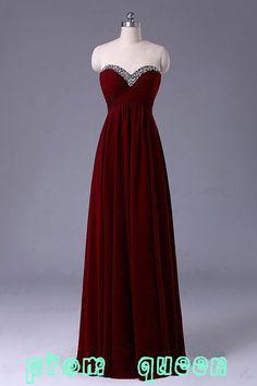 Long Red Prom Dress/Long Beaded Bridesmaid Dress/Red Grey Black Chiffon Evening Dress/Homecoming Dress/Graduation Dress/Formal Dress on Etsy, $119.48 CAD