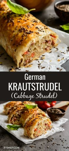 German Krautstrudel is a delightfully easy savory cabbage roll, perfect for the season. With soft sauteed strands of cabbage, the smoky flavor of bacon and savory crunch of caraway seeds; all wrapped in a delicate, flaky crust. It's a treat friends and fa Good Food, Yummy Food, Tasty, Cooking Recipes, Healthy Recipes, Vegan Cabbage Recipes, Vegetarian Cabbage Rolls, Bread Recipes, Cooking Tips