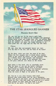 The Star Spangled Banner- Francis Scott Key- National Anthem- 1940s Vintage Postcard