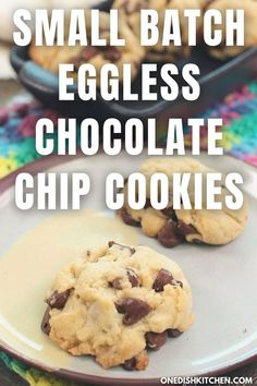 This soft and buttery eggless chocolate chip cookies recipe is perfect for those with an egg allergy or if you're simply out of eggs. This delicious small batch recipe makes just a few eggless cookies - great for satisfying a cookie craving! Eggless Chocolate Chip Cookie Recipe, Chocolate Chip Cookies, Slushie Recipe, Single Serving Recipes, Summer Dessert Recipes, Fat Foods, Gluten Free Baking, Ice Cream Recipes, Meals For One