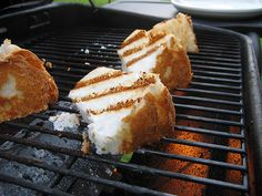 Grilled angel food cake? Yes...With Fruit, Lemon Curd, Whipped Cream, Pudding... You Name it...Tastes kind of like a toasted Marshmallow~!!!