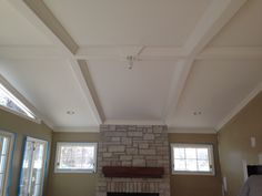 Tongue groove knotty pine ceiling we finished for Coffered cathedral ceiling