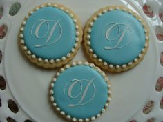 Tiffany blue Wedding  monogram cookie favors by South Avenue Sweets