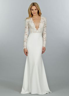 Ivory Venise lace and crepe sheath bridal gown, long sleeve bodice with cashmere lining and deep V plunge neckline, slim skirt with chapel train. Bridal Gowns, Wedding Dresses by Tara Keely - JLM Couture - Bridal Style tk2450 by JLM Couture, Inc.