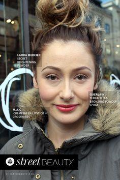 Street Beauty by She Said Beauty  Melanie wears Laura Mercier Secret Brightening powder, Guerlain Terracota Bronzing Powder Spray and MAC Cremesheen lipstick in 'Crosswires'.