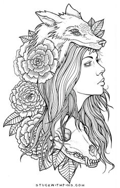 Afbeeldingsresultaat voor woman with wolf headdress tattoo Tattoo Girls, Girl Tattoos, Tatoos, Et Tattoo, Tattoo Drawings, Tattoo Wolf, Tattoo Sketches, Tattoo Thigh, Wolf Headdress