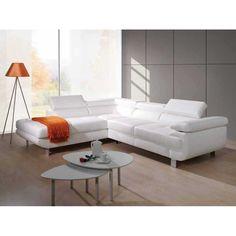 Canapé d'angle droit convertible avec coffre de rangement et têtières relax en simili cuir