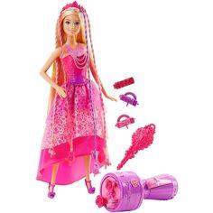 Barbie offre une nouvelle façon pour la coiffer! En utilisant loutil de coiffure fourni, les fillettes peuvent facilement créer des coiffures avec des boucles et des tresses. Et avec 25 cm de cheveux méchés colorés, cette poupée Barbie princesse est prête pour des coiffures de grand style! Les perles attachées aux cheveux de la poupée Barbie senclenchent dans loutil de coiffure, qui créera des boucles ou des tresses (2 ou 3) en appuyant plusieurs fois sur le bouton de loutil. Les accessoires…