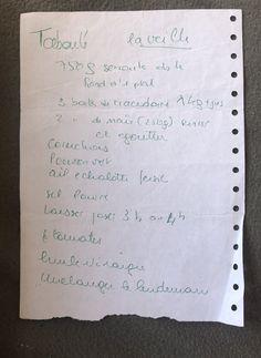 Recettes de famille - Cahier de cuisine familiale - Légumes - Taboulet #cuisine #recettes #ete #semoule #salade Bullet Journal, Personalized Items, Juice 2, Family Kitchen, Salad, Recipes