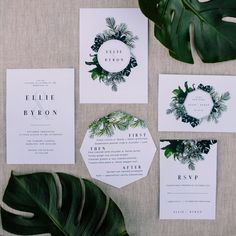 modern greenery wedding stationery