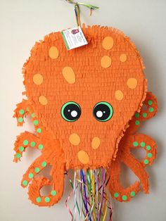 Pinata del pulpo. Piñata grande pulpo naranja por AbitaAchie