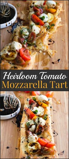 This heirloom tomato and mozzarella tart is so easy to make even the kids can help out. It looks gorgeous, tastes even better and is a no fuss recipe. Heriloom tomatoes, puff pastry, marinated mozzarella and balsamic reduction and guess what, all of it is premade and you can whip it all together. ohsweetbasil.com via @ohsweetbasil